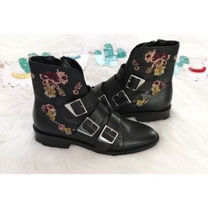 NWT Zara Floral Triple Straps Leather Moto Booties